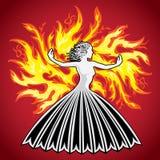 妇女夫人在火的女孩形象剪影发火焰 免版税库存图片