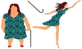 妇女失去的重量 免版税库存图片