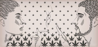 妇女女孩夫人抽烟的烟杂草大麻大麻滚动了香烟 库存照片