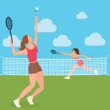 妇女女孩戏剧网球羽毛球拍法院 免版税库存照片