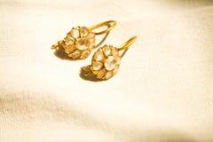 妇女女孩爱艺术构思设计想法的葡萄酒两石头金刚石葡萄酒有灵感的宝石耳环最佳的美丽的礼物  库存图片