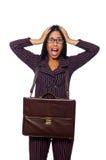 妇女女实业家概念被隔绝的白色背景 免版税库存照片