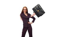 妇女女实业家概念被隔绝的白色背景 库存图片