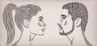 妇女女性女孩夫人人男性人民人的白色爱恋的夫妇 皇族释放例证