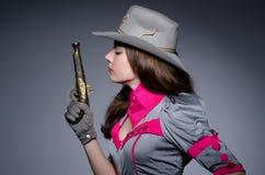 妇女女牛仔 免版税库存照片