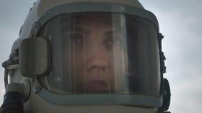 妇女宇航员谈话 股票录像