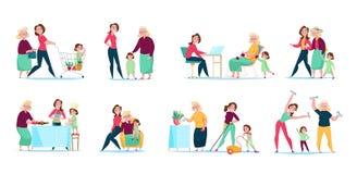 妇女家庭世代集合 向量例证