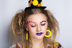 妇女小丑组成 免版税库存照片