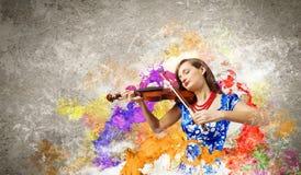 妇女小提琴手 库存图片