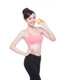 妇女展示橙色好处健康 库存图片