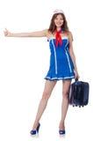 妇女带着手提箱的旅行乘务员 图库摄影