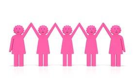 妇女平等天或女权主义概念 愉快的团结的微笑的妇女 免版税库存照片