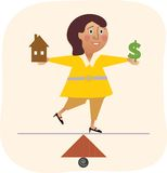 妇女平衡的工作和家庭 免版税图库摄影