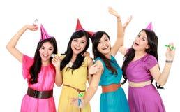 妇女庆祝新年度的组 免版税库存照片