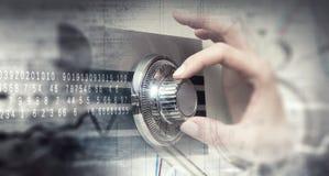 妇女开放保险柜 混合画法 免版税图库摄影