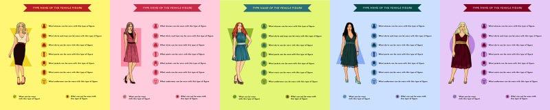 妇女形象的类型 妇女形象的类型 设置女性身材类型:滴漏,梨,长方形,三角,长圆形 向量例证