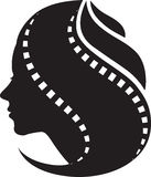 妇女影片磁带头发 库存照片