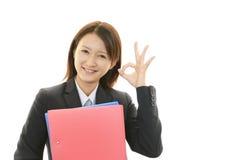 妇女微笑愉快 免版税库存照片