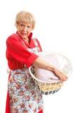 妇女恨洗衣店 库存图片