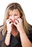 妇女悲伤 免版税库存照片