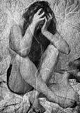 妇女悲痛 库存图片