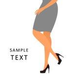 妇女感觉痛苦佩带的鞋子 免版税库存图片