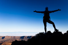 妇女成功在山上面的概念剪影 免版税库存图片