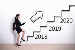 妇女成功在新年 免版税库存图片
