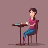 妇女或女孩有坐在咖啡馆的智能手机的 免版税库存图片