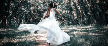 妇女或女孩,一套白色婚礼礼服的一个新娘,在m站立 库存图片