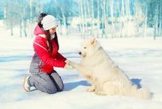 妇女所有者在冬天教白色萨莫耶特人狗 免版税库存图片