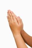 妇女手举行手一起是标志祷告和谢意 免版税库存图片