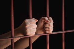 妇女手在监狱 库存图片