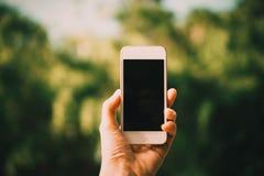 妇女手拍从智能手机的一张照片 免版税库存图片