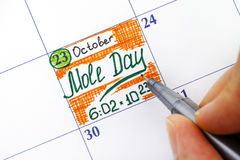 妇女手指与笔文字提示在日历的痣天 图库摄影