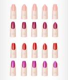 妇女手指 钉子不同的形状彩色组  免版税库存图片