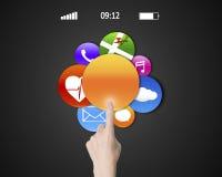 妇女手接触五颜六色的apps的食指 库存例证