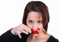 妇女打破沈默 免版税库存图片