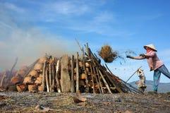 妇女投掷做火光的米traw由烧伤罐决定 免版税图库摄影
