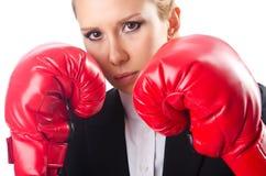 妇女拳击手查出 免版税库存图片