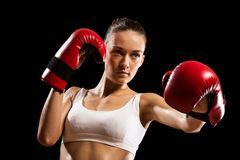 妇女拳击手的画象 免版税库存照片