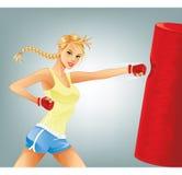 妇女拳击 免版税库存图片