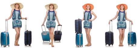 妇女拼贴画为暑假做准备隔绝在白色 库存图片
