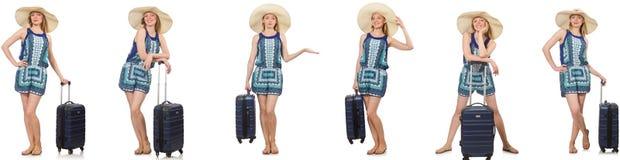 妇女拼贴画为暑假做准备隔绝在白色 免版税库存照片