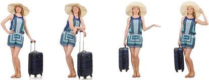 妇女拼贴画为暑假做准备隔绝在白色 图库摄影