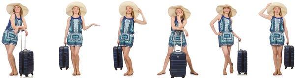 妇女拼贴画为暑假做准备隔绝在白色 免版税库存图片