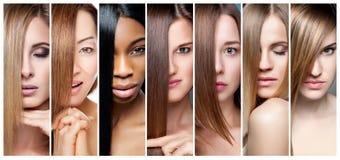 妇女拼贴画有各种各样的头发颜色、肤色和脸色的 库存图片