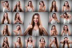 妇女拼贴画用不同的表情的 库存图片