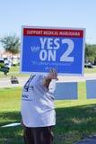 妇女拿着一个蓝色竞选表决标志支持医疗大麻 免版税库存图片