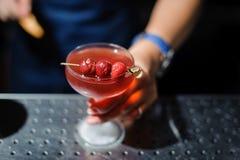 妇女拿着与一个酒精鸡尾酒的一块玻璃装饰用三棵樱桃 免版税库存图片